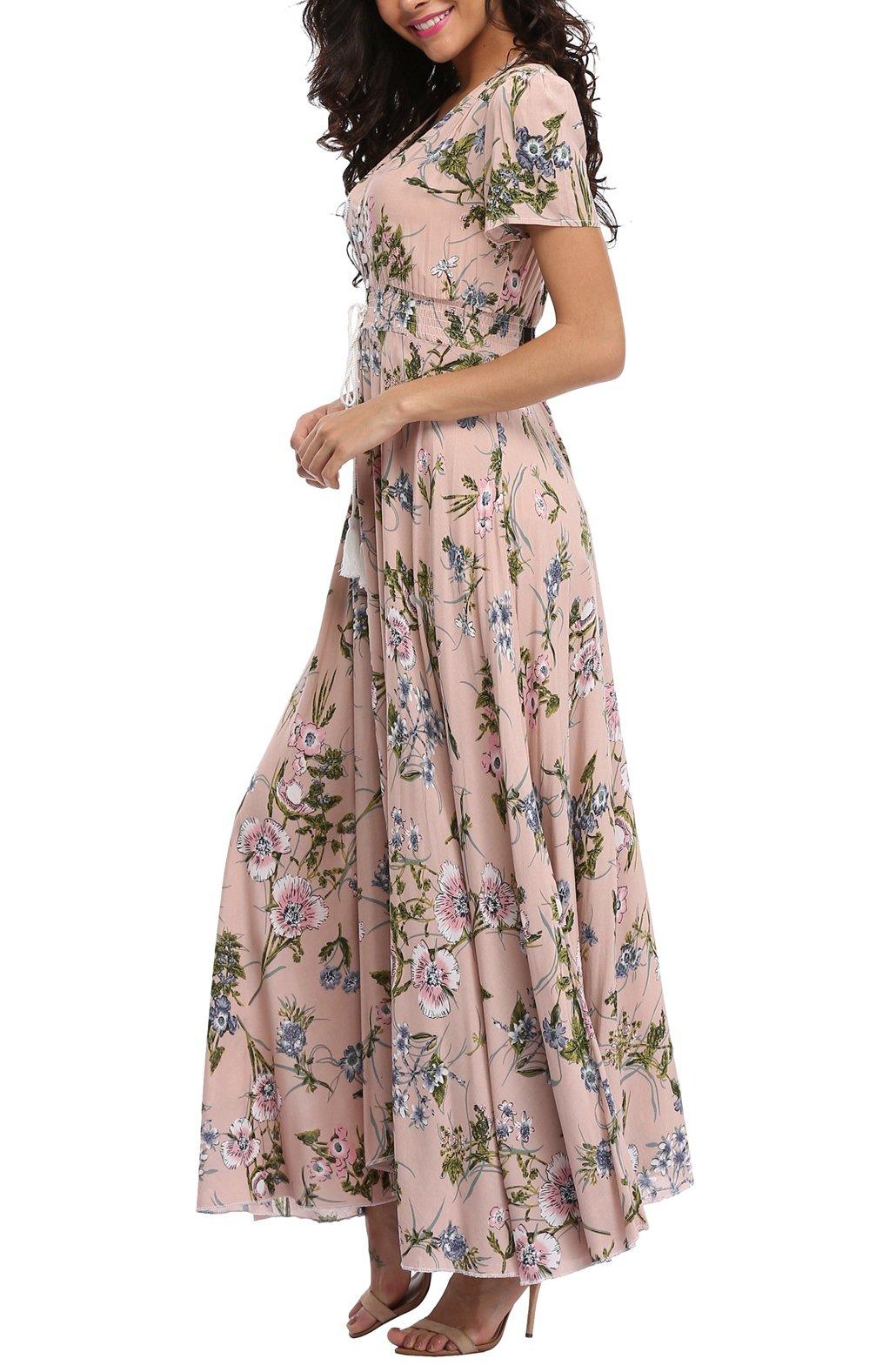 VintageClothing Women's Floral Print Maxi Dresses Boho Button Up Split Beach Party Dress,Pale Dogwood,Large by VintageClothing (Image #3)