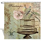 CafePress - Vintage French Shabby Chic Birdcage - Decorative Fabric Shower Curtain