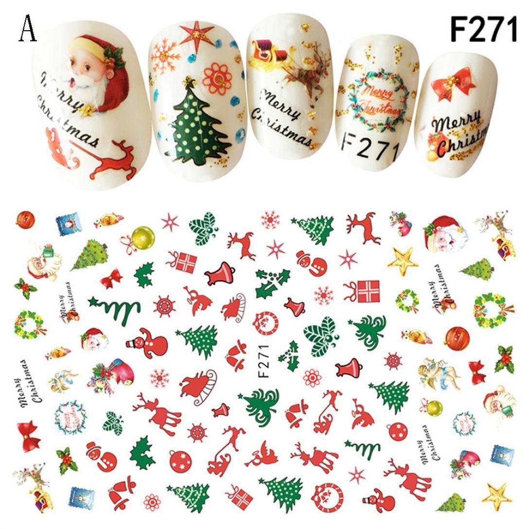 Stickers 3D pour ongle IGEMY Art de Noël, autocollant flocons de neige et mignon bonhomme de neige