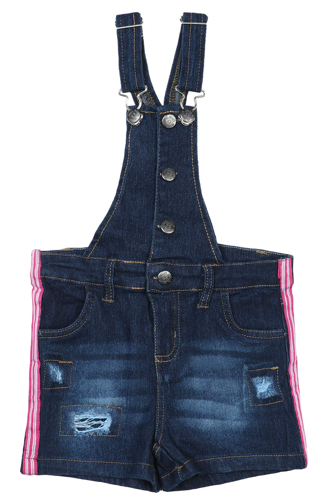 dELiAs Girls Bib Overall Denim Shorts with Adjustable Straps, Dark Side Stripes, Size 14' by dELiA*s