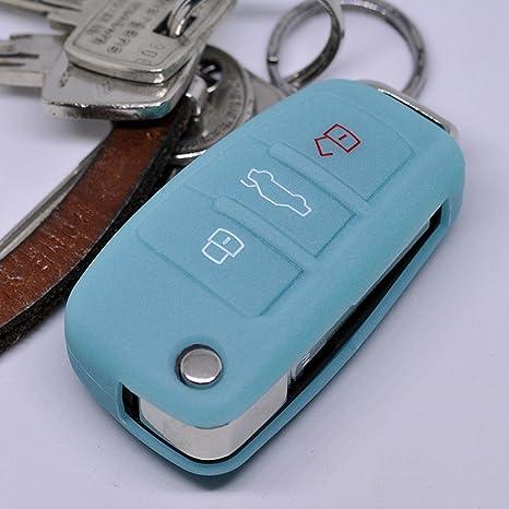 Klapp Schlüssel Cover Hülle Blau AUDI A1 8X S1 A3 8P S3 A6 4F S6 Q7