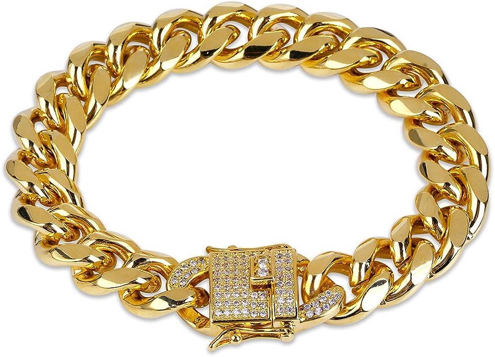 JINAO 12mm 18k Gold Plated Cuban Chain Bracelet with 1ct Lab Diamond Clasp Hip Hop Bracelet