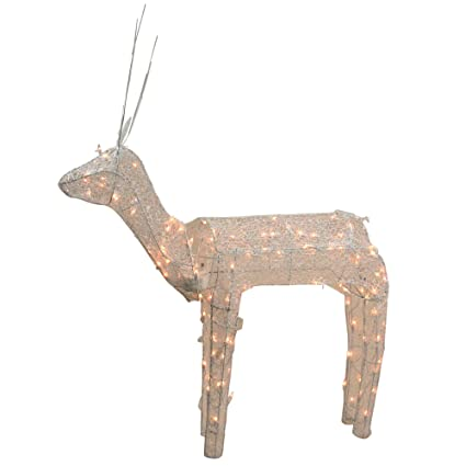 northlight 3 d glitter animated standing buck reindeer lighted christmas yard art decoration with clear - Animated Lighted Reindeer Christmas Decoration