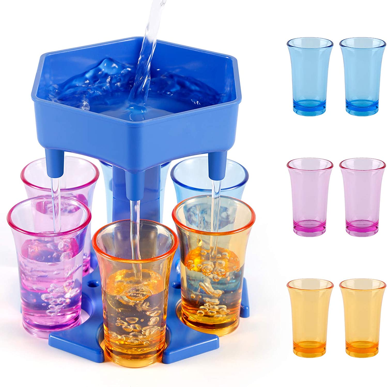 6 Shot Glass Dispenser, Drink Dispenser and Holder with Stoppers, Beverage Dispenser with Glasses for Filling Liquids Cocktail Liquor Carrier Gifts Bar Shot Dispenser for Parties (Blue with 6 glass)