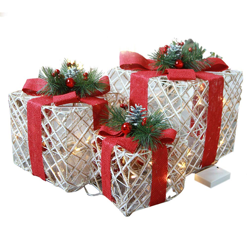 Christmas Gift Packages, JDgoods Christmas Luminous Gift Box Home Outdoor Decoration Set Of 3 Glowing Package
