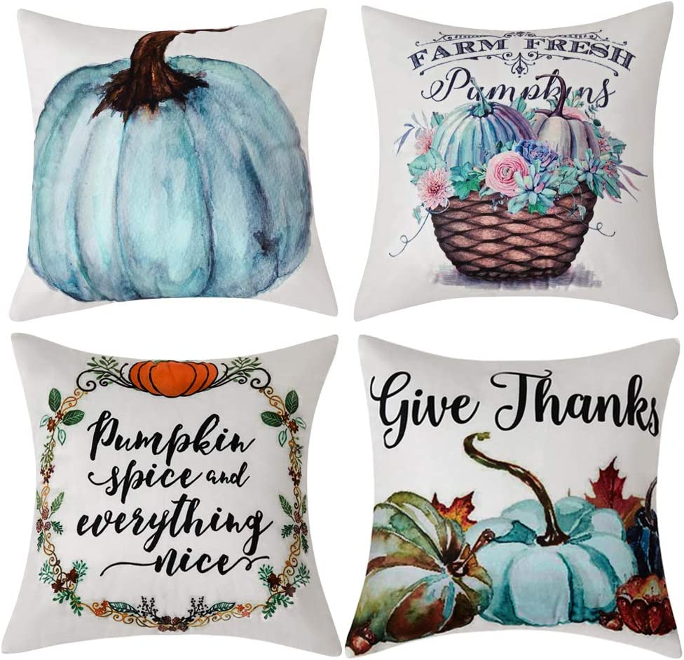 Anickal Set of 4 Thanksgiving Pillow Covers Give Thanks Pumpkin Farm Fresh Autumn Theme Farmhouse Decorative Throw Pillow Covers 18x18 Inch for Sofa Couch Decor