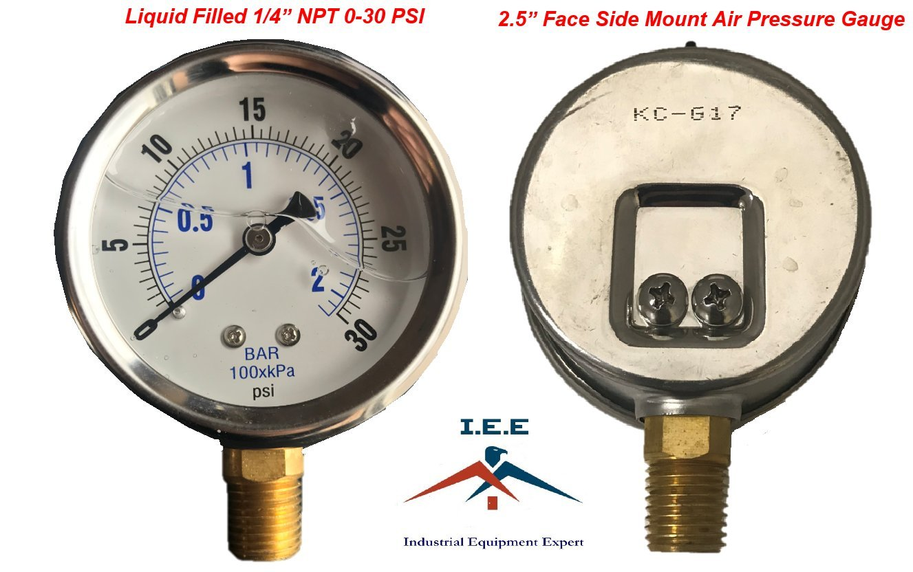 NEW STAINLESS STEEL LIQUID FILLED PRESSURE GAUGE WOG WATER OIL GAS 0 to 30 PSI LOWER MOUNT 0-30 PSI 1/4'' NPT 2.5'' FACE DIAL SIDE MOUNT FOR COMPRESSOR HYDRAULIC AIR TANK