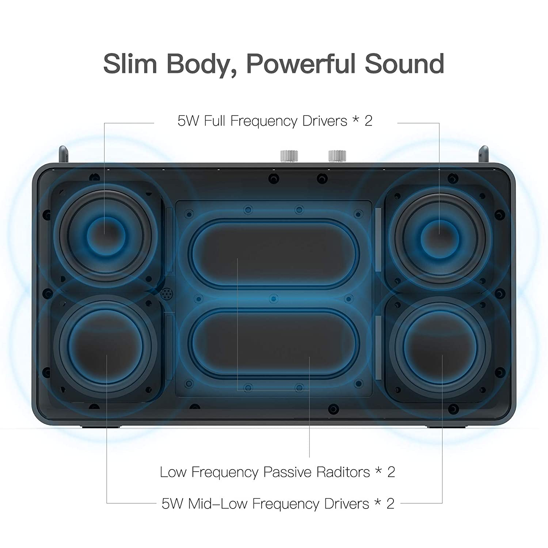 Alexa Built-in Portable Speaker GGMM Wifi Speaker Multiroom Speaker,  Bluetooth Speaker with Treble and Bass Controls,20W Driver Wireless Speaker