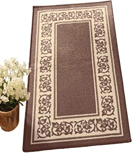 Collections Etc Floral Border Skid-Resistant Accent Rug, Sand, 20 X 59