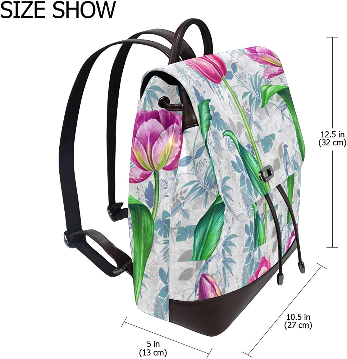 PU Leather Shoulder Bag,Fresh Spring Tulips Backpack,Portable Travel School Rucksack,Satchel with Top Handle