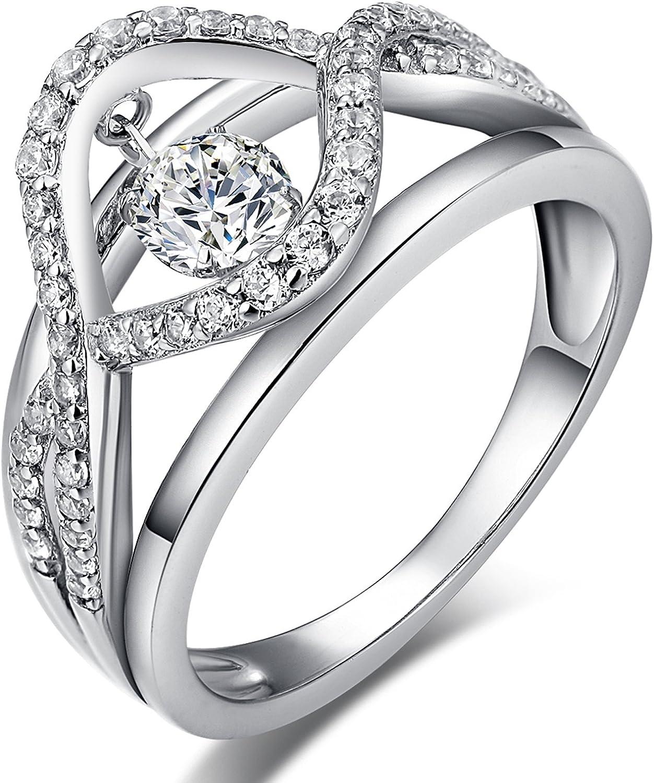 Han han Rings for Women Silver Wedding Rings Engagement Rings for Women Sterling Silver Rings Cubic Zirconia Rings Platinum Plated Women Rings Dancing CZ Diamond Rings Wedding Jewelry Antique Rings