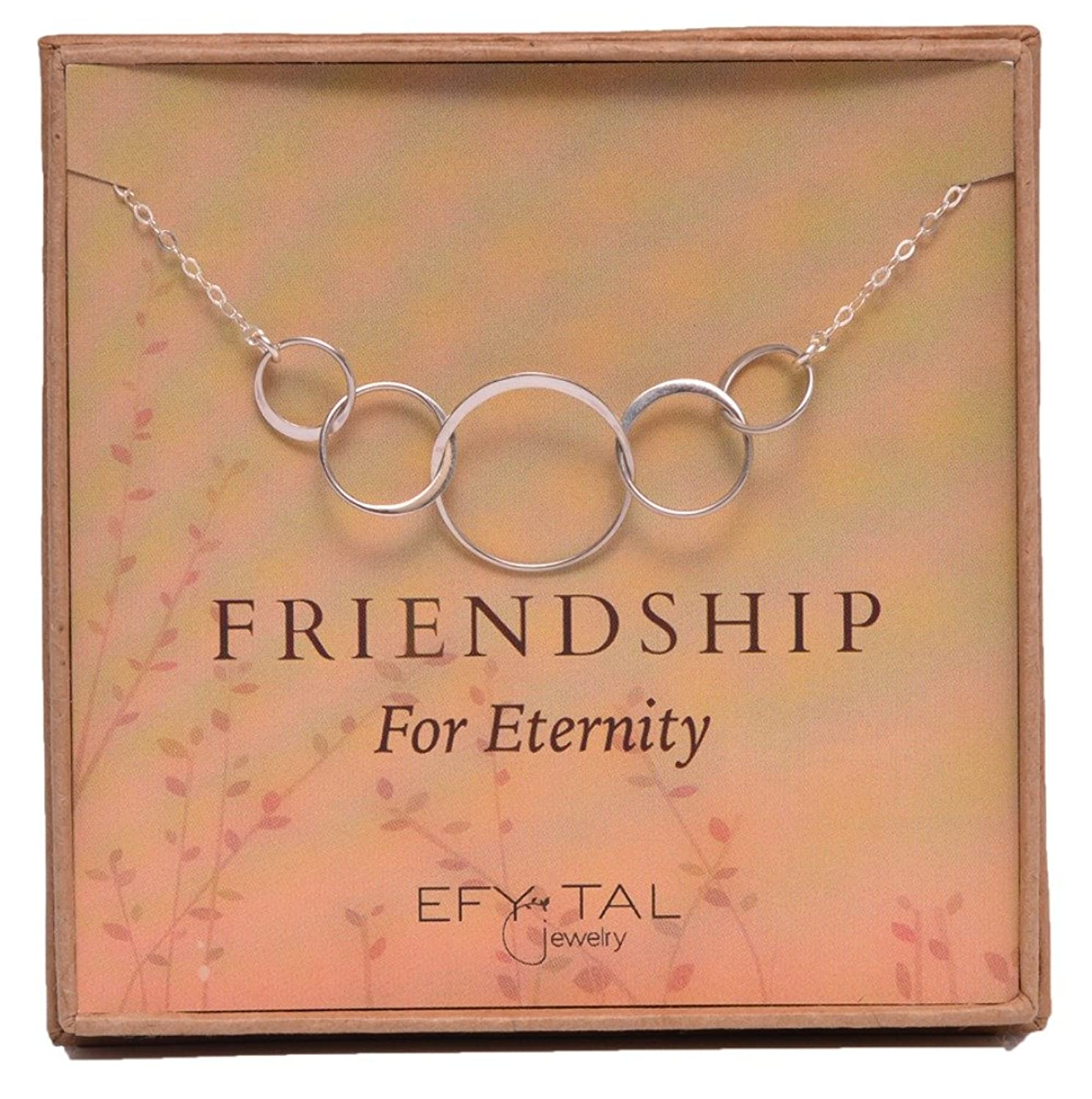 Five Friend Necklace 5 Sterling Silver Friendship Interlocking Infinity Circles Gift 4 Best Friends Group