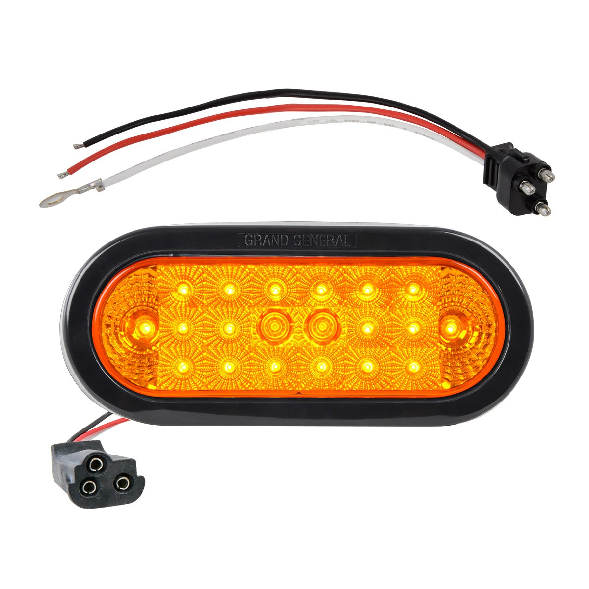 GG Grand General Grand General 77040BP Spyder 6'' Oval Amber LED Park/Turn/Clearance Includes Light, Grommet & Pigtail for Trucks, Trailers, RVs, Utility Vehicles