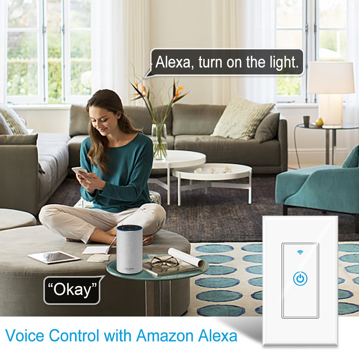 Smart Light Switch - Gosund Smart Wifi Light Wall Switch 15A Touch Timing Function Remote Control From Anywhere, Works with Alexa, Google Assistant And IFTTT, No Hub Required (1 pack) by Gosund (Image #2)