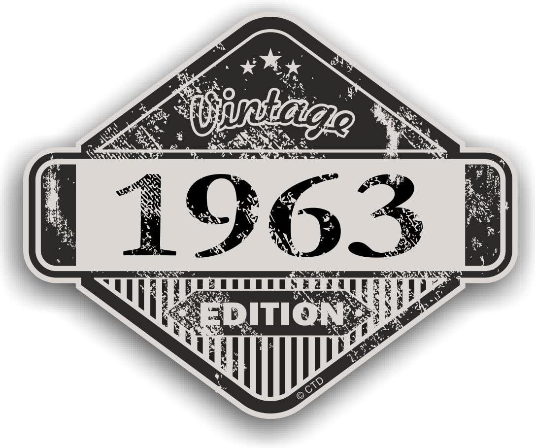 Used Aged Vintage 1963 Edition Classic Retro Vinyl Auto Motorrad Cafe Racer Helm Aufkleber Aufkleber Badge 85 X 70 Mm Auto