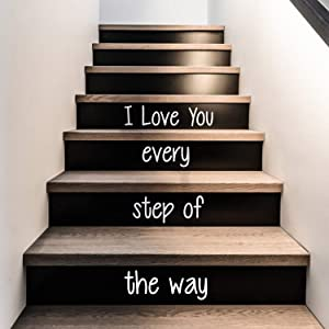 """Vinyl Wall Art Decal - I Love You Every Step of The Way - from 4.1"""" to 18"""" Each - Love Quotes for Indoor Outdoor Stairs Stickers Decor for Family Home Stairway Decals (White)"""