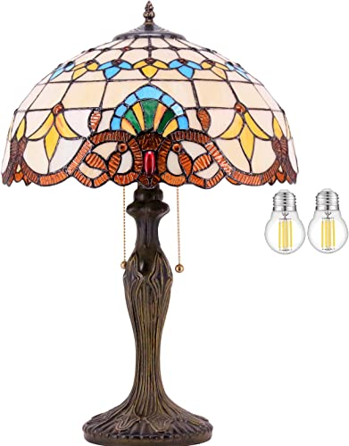 Tiffany Lamp 2LED Bulb Inclued Baroque Stained Glass Shade Antique Style Base Table Reading Light W16H24 Inch WERFACTORY Lamps Parent Friend Lover Living Room Bedroom Bedside Desk Art Crafts Gifts