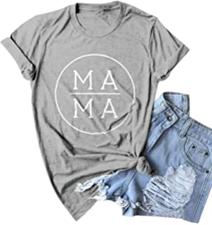 d4c33b6b2b66 EGELEXY Blessed Mama Boy Mom Letter Printed Short Sleeve Tops Tee ...