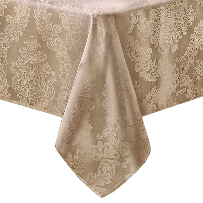 Newbridge Barcelona No-Iron Soil Resistant Fabric Damask Tablecloth - 60 X 144 Oblong - Golden Beige