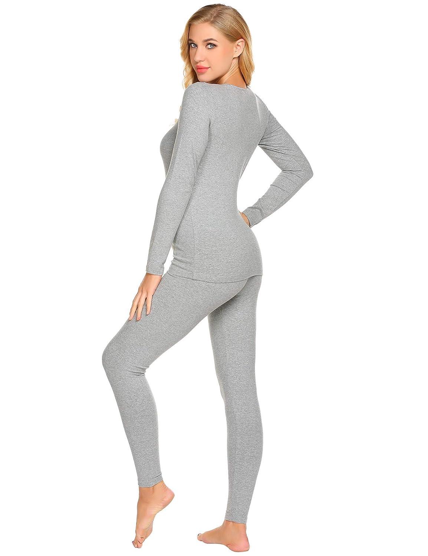 427c62b126af Clothing, Shoes & Jewelry Ekouaer Womens 2-Piece Pajama Long Thermal  Underwear Fleece Lined Winter Base ...