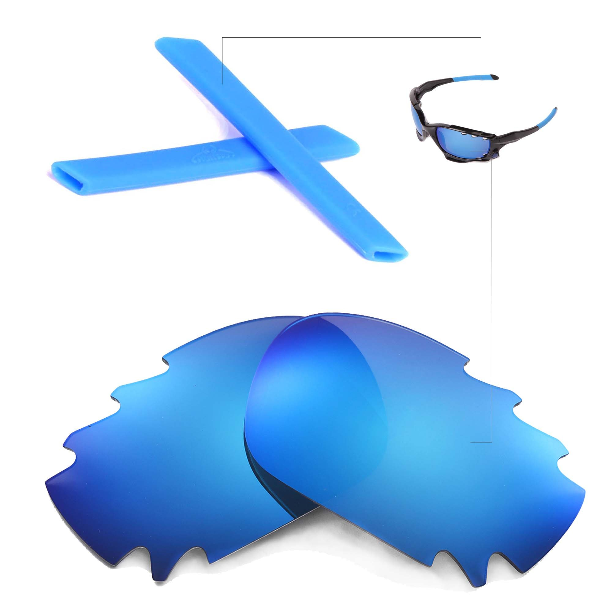 Walleva Polarized Ice Blue Vented Lenses And Blue Earsocks For Oakley Racing Jacket