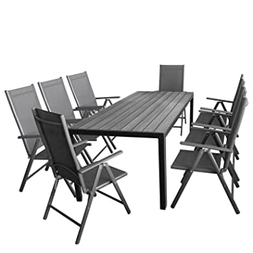Wohaga Gartenmöbel Set 7tlg. Sitzgarnitur Mit Aluminium, Polywood  Gartentisch + 8X Verstellbare Aluminium