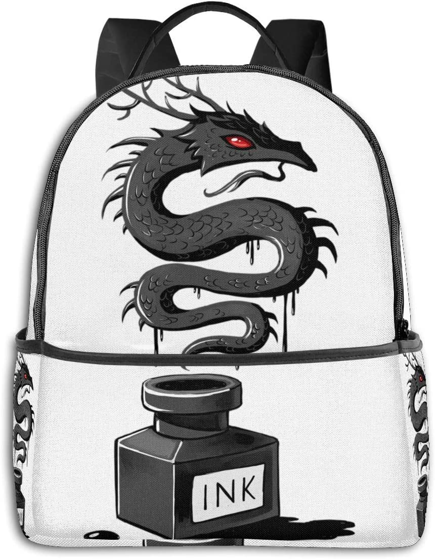 Anime & Ink Dragon Classic Student School Bag School Cycling Leisure Travel Camping Outdoor Backpack
