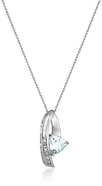 Amazon 10k white gold trilliant aquamarine and diamond pendant 10k white gold trilliant aquamarine and diamond pendant necklace 18quot aloadofball Image collections