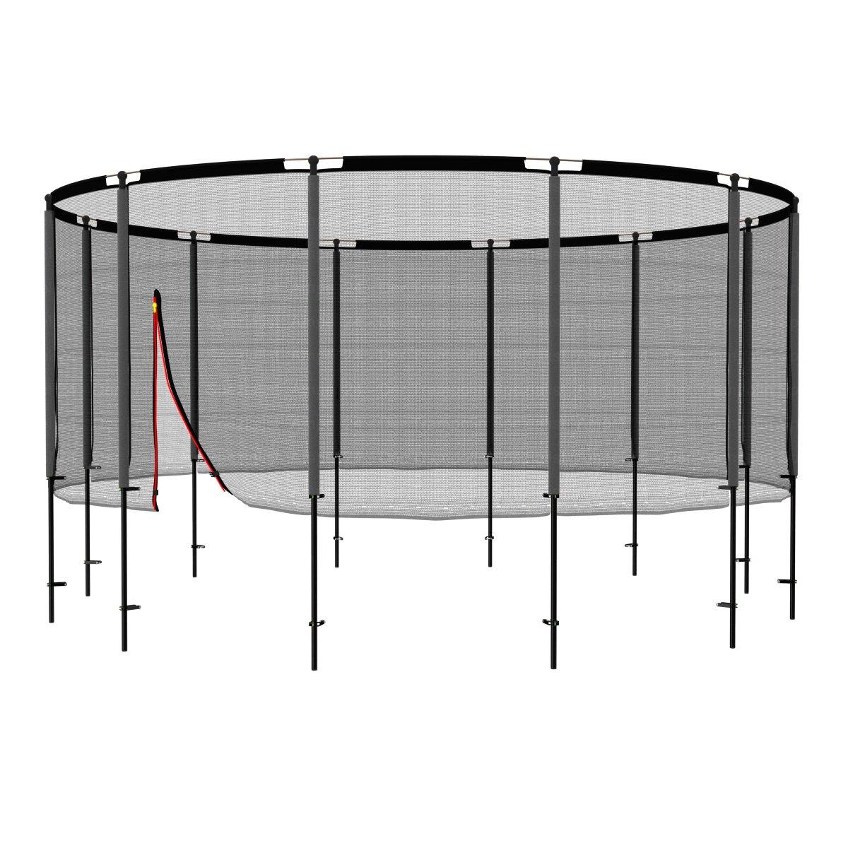 Ampel 24 Trampolin Sicherheitsnetz Ø 490 cm, Netz mit 12 Stangen & Schutzring komplett, Ersatznetz außenliegend, Ersatzteil reißfest, UV-Besteändig