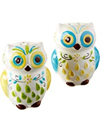 Amazon salt pepper shaker sets home kitchen floral owl salt pepper shakers hand painted ceramic by boston warehouse fandeluxe Choice Image