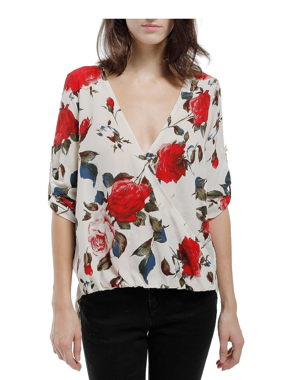 Blooming Jelly Women's Hi Low Deep V Neck Floral Print Wrap Chiffon Shirt Blouse Tops