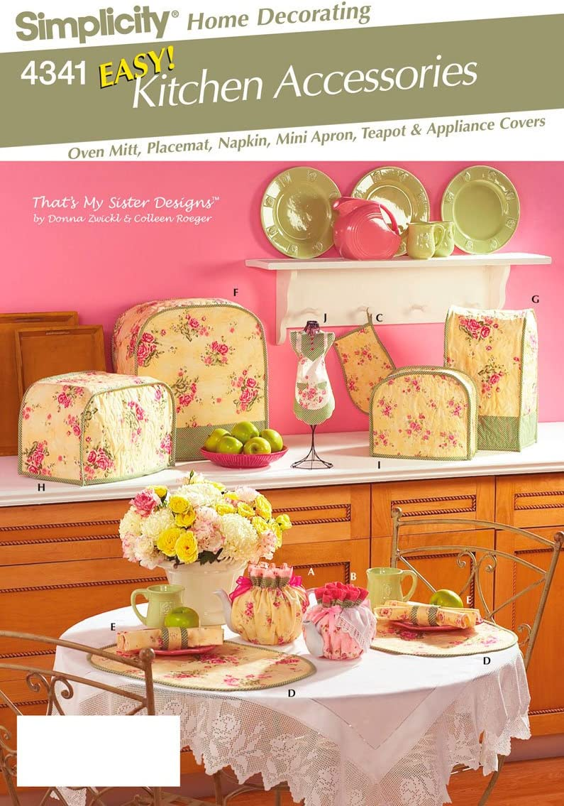 Simplicity Pattern 4341 EASY! Kitchen Accessories - Apron to Teapot Cozy by That's My Sister Designs