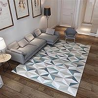 Ommda Tapis Salon Design Moderne Tapis Salon Asiatique Anti Derapant Impression géométrique 3D Multicolore