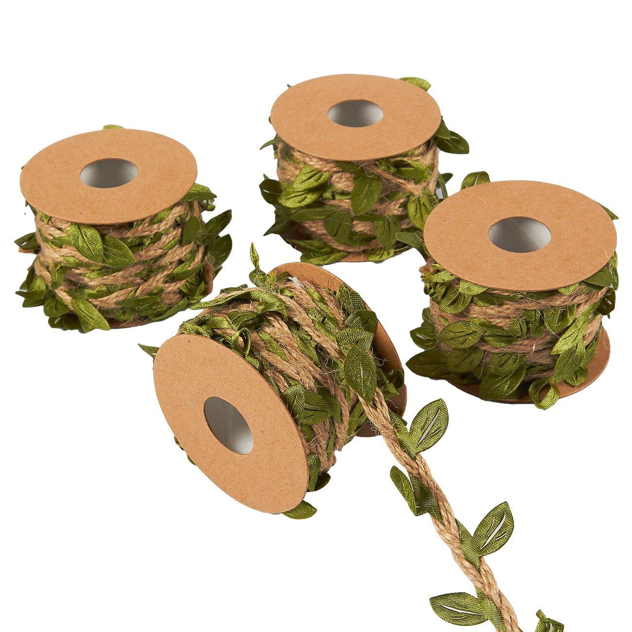 cuerda de vid para corona boda diadema verde hogar arpillera artificial 4 rollos para colgar en la pared jard/ín decoraci/ón de fiesta cinta de vino Guirnalda de hojas