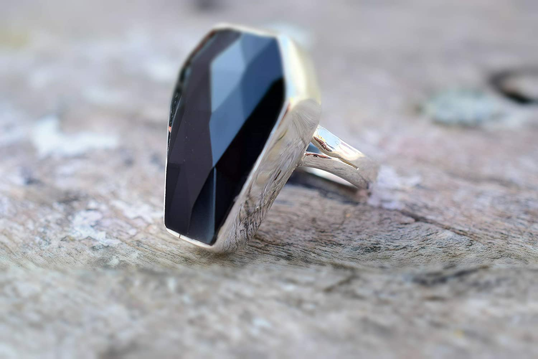 Black onyx Gemstone Coffin Silver Ring Coffin Ring Black Coffin Ring  925 sterling silver ring Black onyx Coffin ring