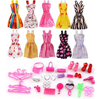 Barbie Clothes 58Pcs Princess Dress Accessories Shoes Clothes For Barbie Doll Include 10 Pcs Barbie Clothes And 48 Pcs Accessories: Toys & Games