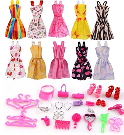 7e5cd1384b3 Image Unavailable. Image not available for. Color  Barbie Clothes 58Pcs  Princess Dress Accessories Shoes ...