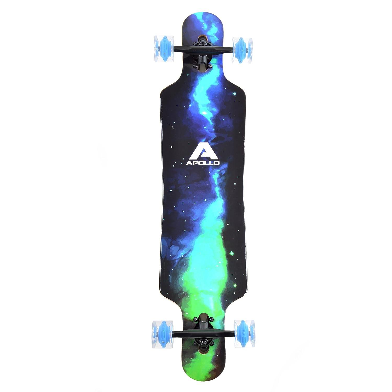 Apollo Longboard Galaxy Special Edition Board complet con rodamientos de Bolas High Speed ABEC Drop Through Freeride Skate Cruiser Boards Color: Cielo ...