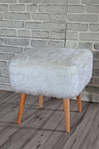 Pyramid Home Decor Square Faux Fur Stool for Vanity - Furry Ottoman Seat with Wood Legs - 16.5 x 16.5 x 17.75 Inch White Faux Fur Foot Stool Ottoman