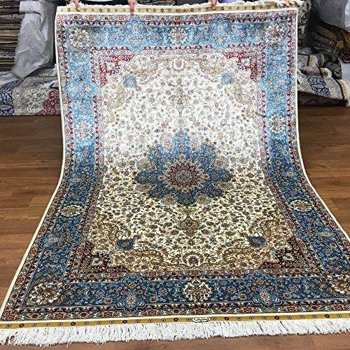 Yuchen New 4.5'x6.5' Blue Kashmir Home Decor Natual Hand Knotted Silk Carpet Handmade Rugs