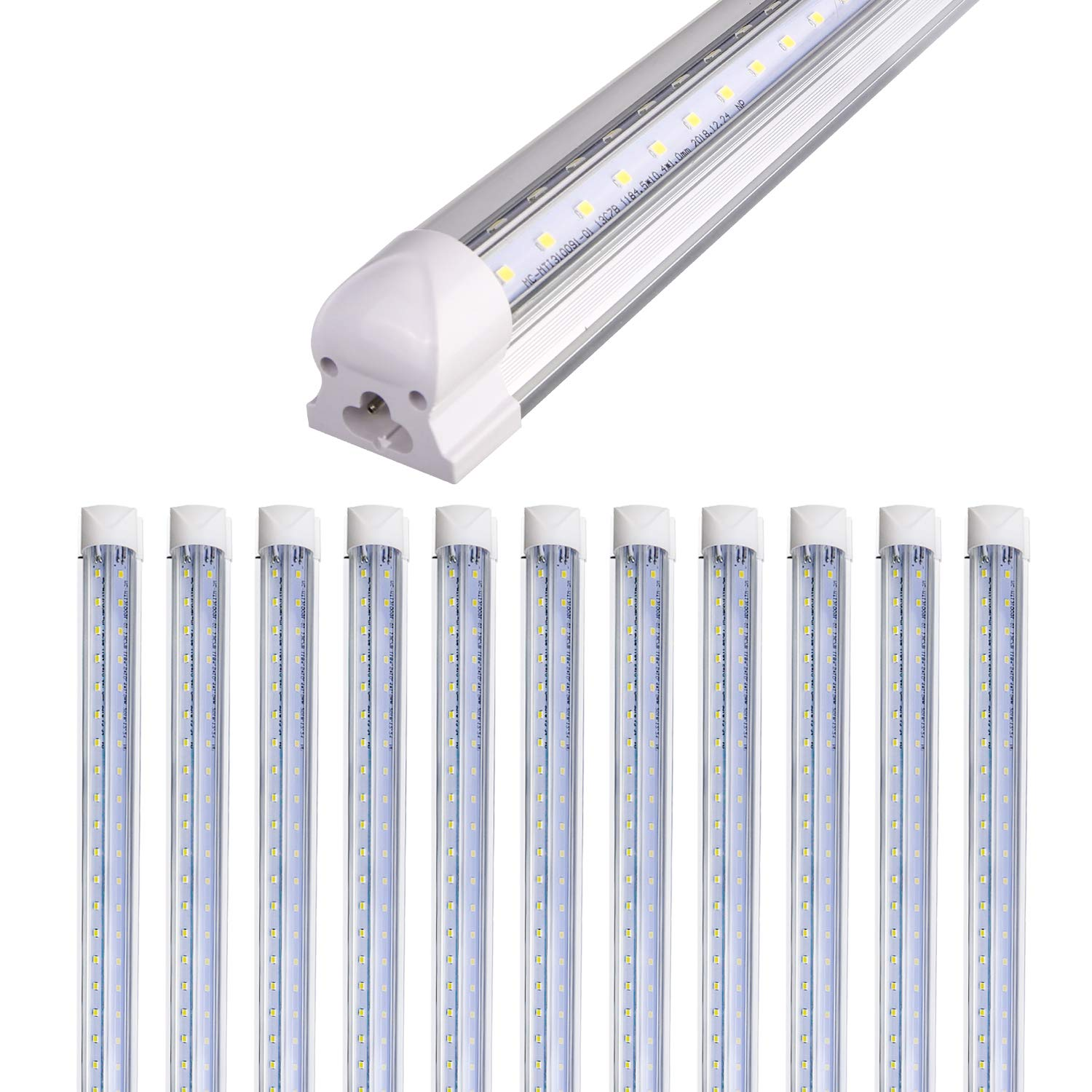 Hykolity 12 Pack Linkable Shop Light, 8FT Industrial Linear Strip Light for Garage, 72W (150W Equiv.) 9360lm 5000K Daylight Clear V-Shaped Integrated Fixture for Workshop Warehouse Basement,ETL List