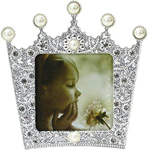 3x3 Silver Metal Picture Photo Frame with Pearl and Crystal Decor, Royal Crown Designed for Table Top Display, High Definition Glass, Gift for wedding, Mother's Day, Valentines Day (3''x3''crown)