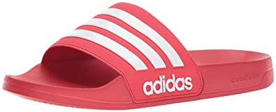 best service 85153 d5b25 Image Unavailable. Image not available for. Color  adidas Men s Adilette  Shower Slide Sandal, White Scarlet, 9 M US