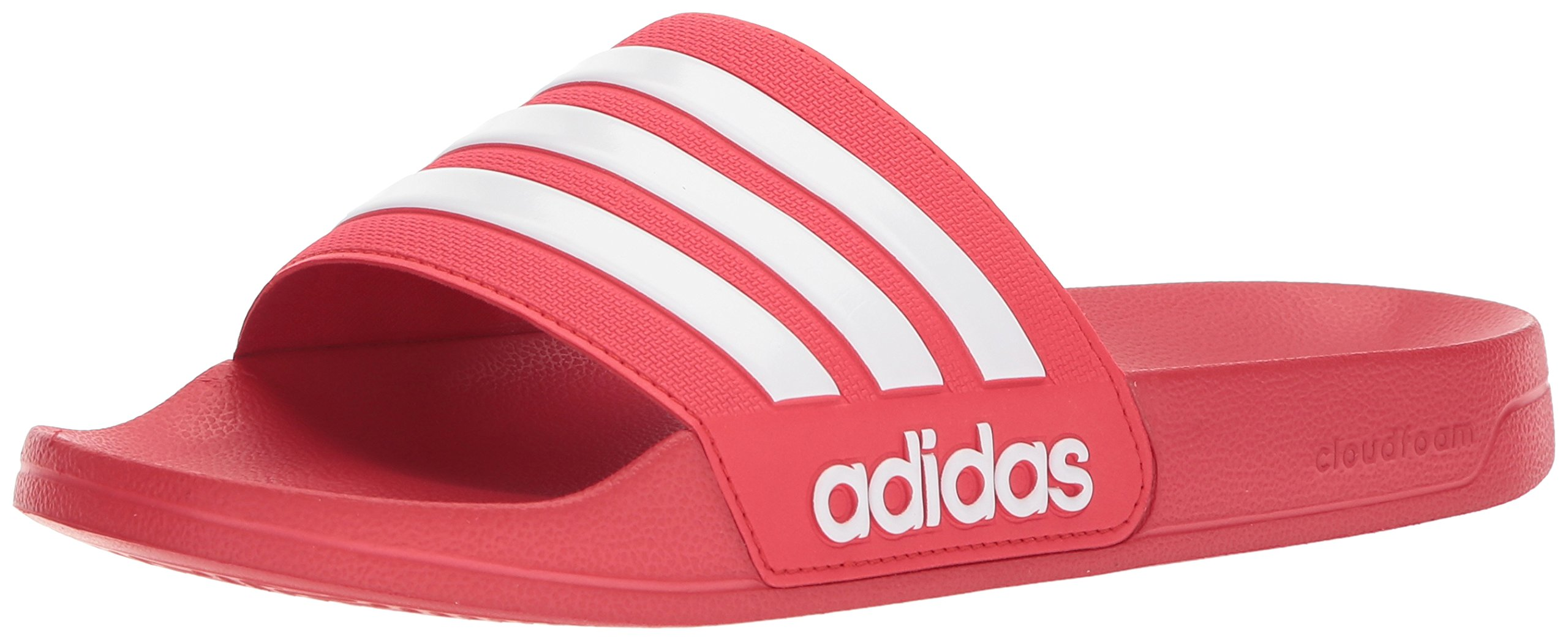 adidas Men's Adilette Shower Slide Sandal, Scarlet/White/Scarlet, 13 M US by adidas