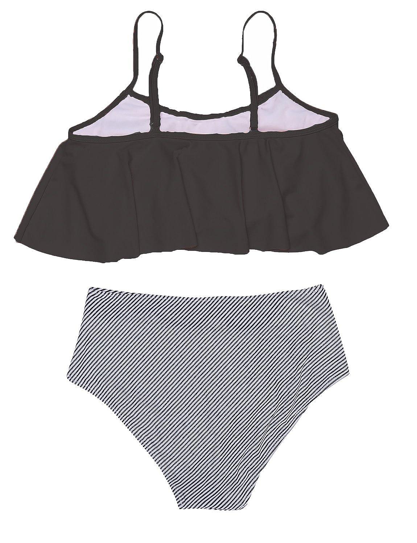 0ff4ce9445 Amazon.com  Hount Woman s Fashion High Waist Bikini Set Carnival Falbala  Swimsuit (S-XXL)  Clothing
