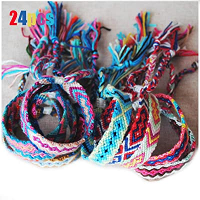 Alodidae 24 Pieces Woven Friendship Bracelets, Colorful Handmade Nepal Braided Bracelet Anklet for Kids Girls Women: Toys & Games