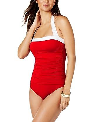 LA BLANCA by Rod Beattie Women\u0027s Hotspot Brown Dot Halter Bikini Top, ...