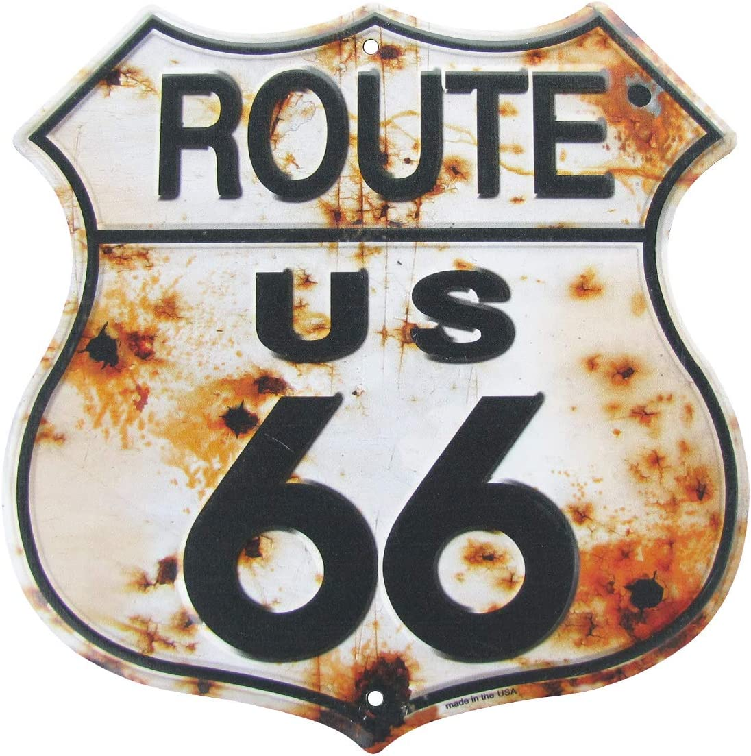 Treasure Gurus Rusty Highway Route 66 Metal Sign US Made Vintage Rustic Garage Man Cave Wall Decor