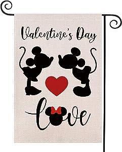 Weimaro Valentine's Day Garden Flag, Burlap Double Sided Garden Outdoor Yard Flags, Love Heart Garden Flag, Happy Valentine's Day Decorations Banner, Wedding Anniversary Garden Flag, 12.5 x 18 Inches