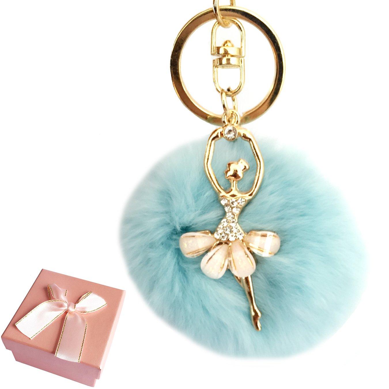 Elesa Miracle Girl Women Fur Ball Rhinestone Ballerina Keychain, Ballet Dancing Girl Handbag Accessories, Car Key Chain (Sky Blue)